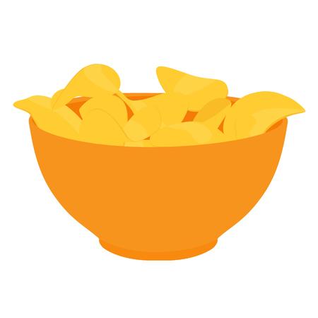 Raster illustration bowl with golden cripsy chips. Chips in orange plate