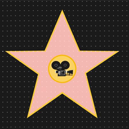 walk of fame: Raster illustration walk of fame stars. Film industry