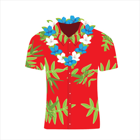 Raster illustration Hawaiian aloha shirt with flower wreath, necklace.