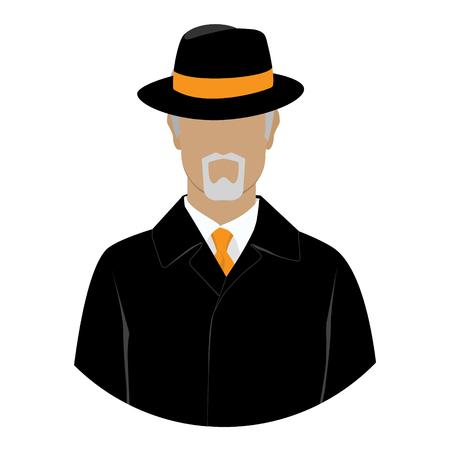 Raster illustration detective, spy avatar icon. Detective character. Investigator in hat, overcoat.