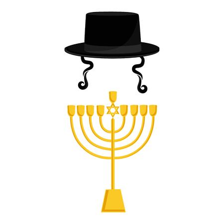 Raster illustration golden menora or menorah usually used at Hanukkah celebrations. Menorah with David star jewish symbol. Black cylinder hat. Orthodox jewish hat with sideburns. Judaism symbols