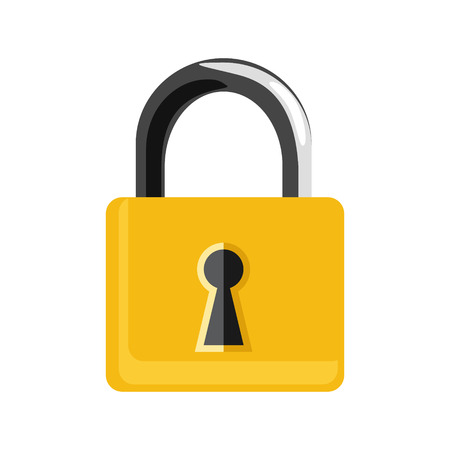 secret codes: raster illustration closed golden lock isolated on white background. Lock icon set, collection. Padlock