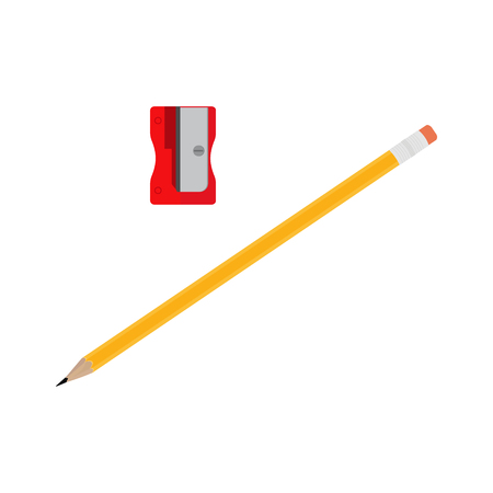 raster illustration pencil with eraser and red sharpener isolated on white background.