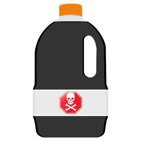 corrosive poison: raster illustration bottle with skull symbol. Danger symbol, biochemical poison. Plastic container with black liquid