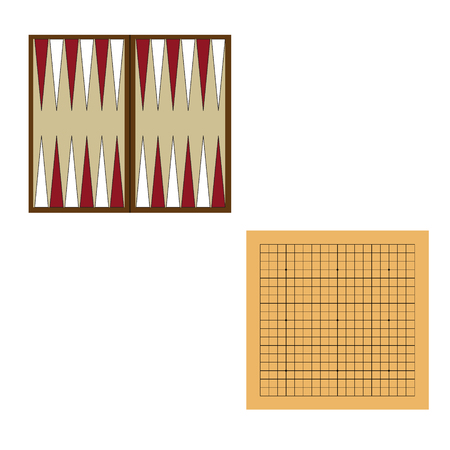 Backgammon wooden board. Raster illustration traditional chinese, japanese strategy board game. Go game.