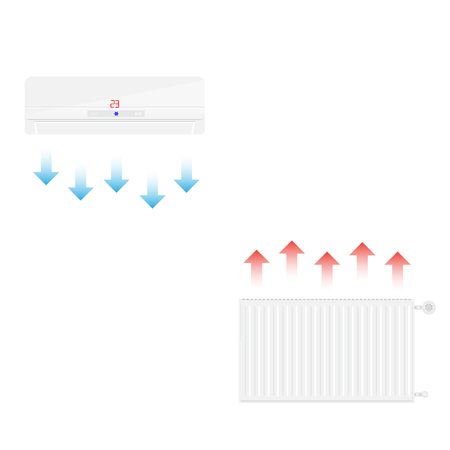 Raster illustration realistic white heating radiator cold and hot ait. Central Heating Radiators icons