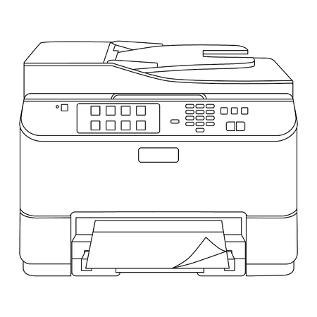 Raster illustration realistic printer and scanner outline drawing. Printer line icon. Stock Photo