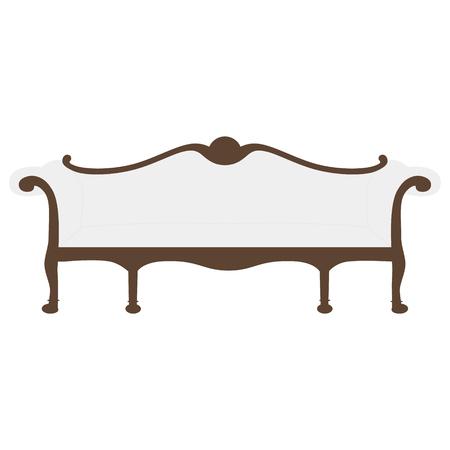 18th century style: Raster illustration of vintage furniture sofa. Antique, retro furniture. 18th century style interior.