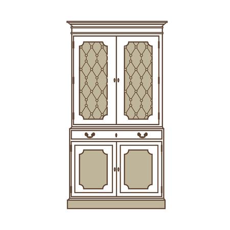 18th century style: Raster illustration  vintage cabinet icon. Retro interior furniture. Antique, retro furniture. 18th century style interior. Stock Photo