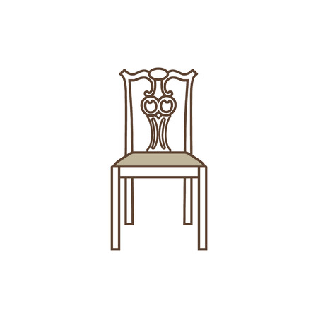 Raster illustration vintage wooden chair. Elegant realistic chair. Antique, retro furniture. 18th century style interior.