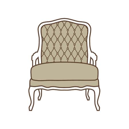 18th century style: Raster illustration vintage armchair icon Elegant realistic armchair. Antique, retro furniture. 18th century style interior.