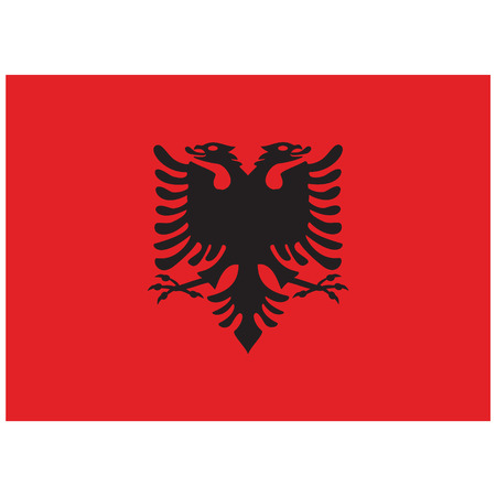 raster illustration flag of Albania icon. Rectangle national flag of Albania. Albania flag button