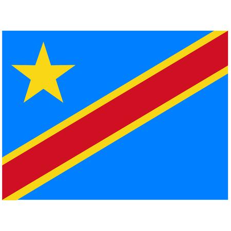 ラスター図フラグ アイコン コンゴ民主共和国。四角形、コンゴ民主共和国の国旗。民主共和国コンゴの旗ボタン