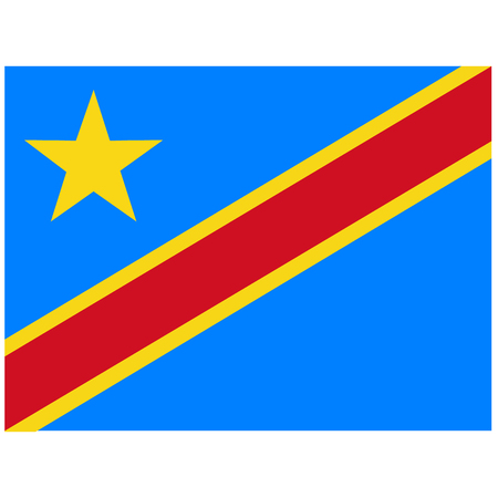 raster illustration flag Democratic Republic of the Congo icon. Rectangle national flag of Democratic Republic of the Congo. Democratic Republic of the Congo flag button