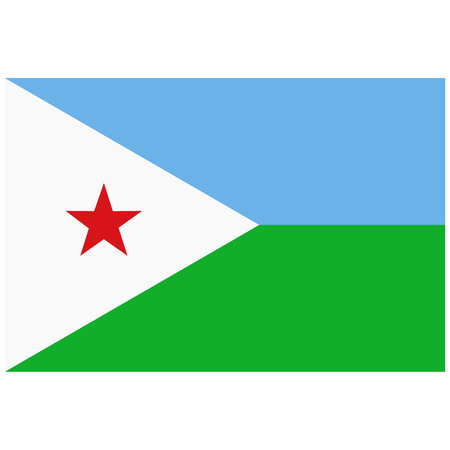 raster illustration flag of Djibouti icon. Rectangle national flag of Djibouti. Djibouti flag button