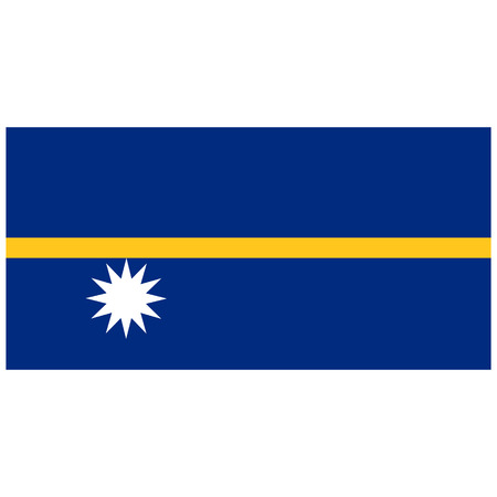 oceania: raster illustration flag of Nauru icon. Rectangle national flag of Nauru. Nauru flag button