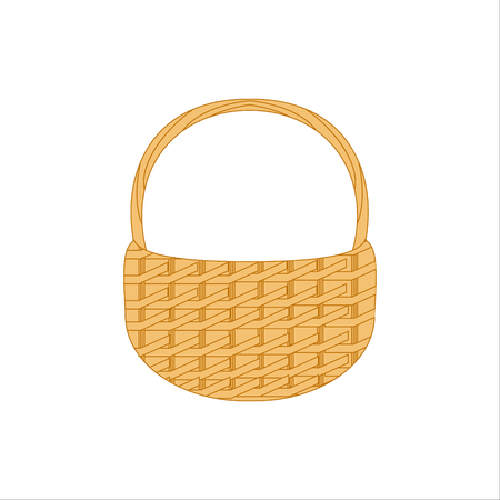 Raster illustration empty wicker basket icon, symbol isolated on white background.