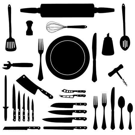 slotted: Raster illustration kitchen tool collection black silhouette. Kitchen utensil icon set. Cutlery icons