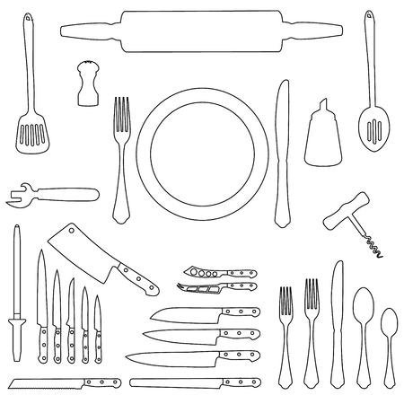 Raster illustration kitchen tool collection outline drawing. Kitchen utensil line icon set. Cutlery icons