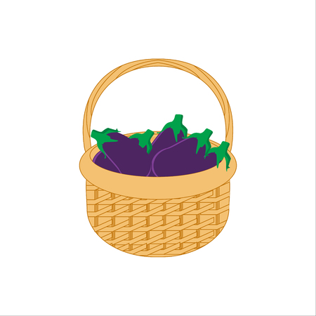 bast basket: Raster illustration wicker basket icon, symbol isolated on white background. Wicker basket full with vegetables- eggplants