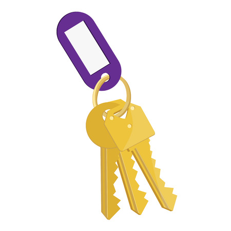 key hole: Raster illustration blank purple tag and golden keys. Bunch of keys with keychain isolated on white background Stock Photo