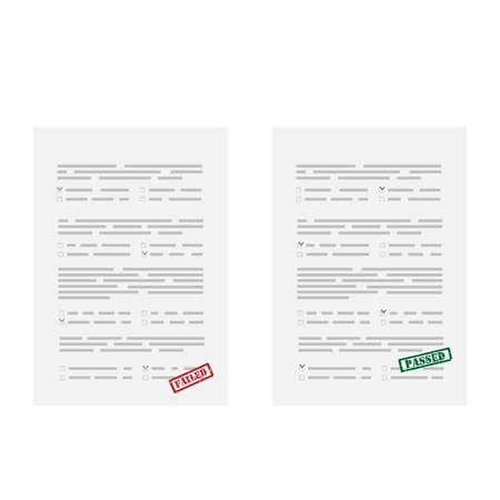 raster illustration two test exam papers with red rubber stamp