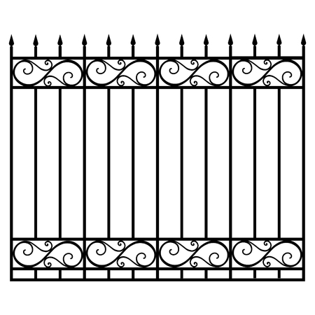 Vector illustration wrought iron modular railing and fence. Vintage gate with swirls. Black forged lattice fence Vettoriali