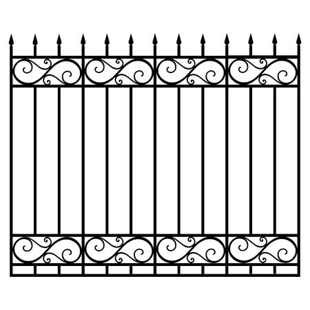 Ilustración vectorial pasamanos modulares de hierro forjado y valla. Puerta de la vendimia con remolinos. Valla de celosía forjada negra