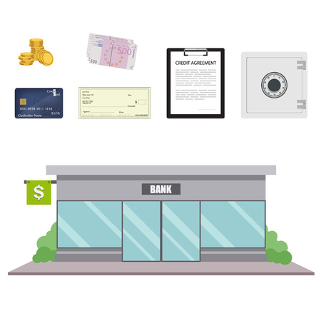 Vector illustration bank facade building in flat style. Finance and banking icon set. Çizim