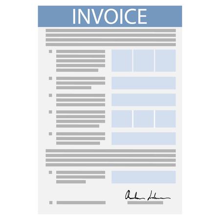 Vector Illustration Invoice Icon In Flat Line Style Isolated