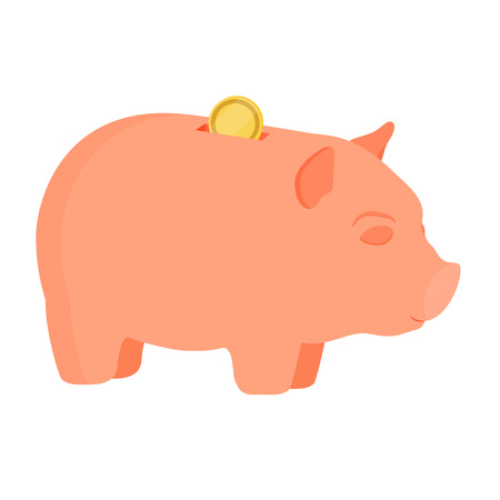 dime: Vector illustration golden dollar coin falling in pink piggy bank  isolated on white.