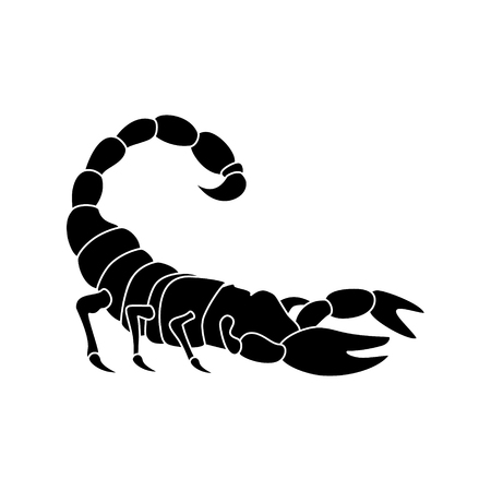 Vector illustration black silhouette of scorpion. Scorpio tattoo icon. Astrological symbols, sign.