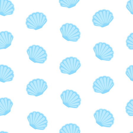 Vector illustration seashell seamless pattern, background. Retro fabric ornament from shells of molluscs