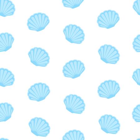 Vector illustration seashell seamless pattern, background. Retro fabric ornament from shells of molluscs