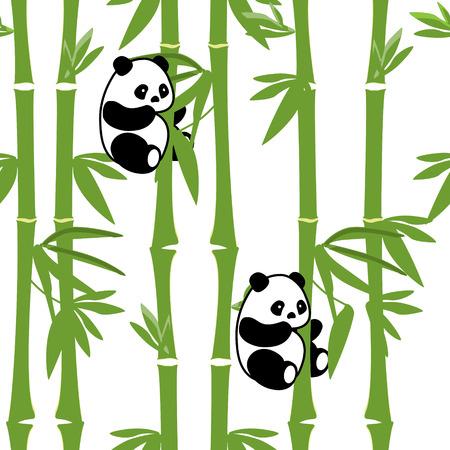 かわいい赤ちゃんパンダ竹背景を持つラスター図の動物パターン。黒と白のクマ。