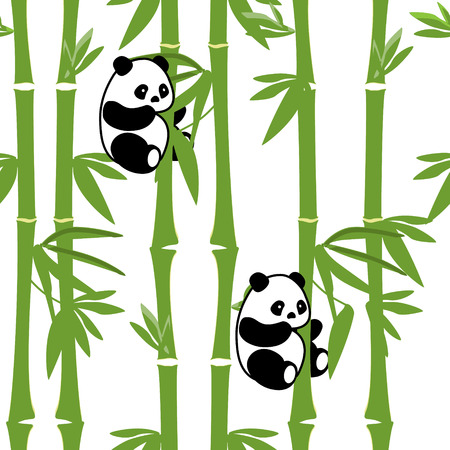 Raster illustration  animals pattern with cute baby panda bamboo background. Black and white bear.
