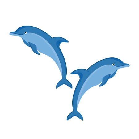 Raster illustration two jumping dolphins isolated on white background. Dolphin pair icon. Sea creature Banco de Imagens