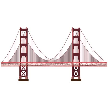 Raster illustration San Francisco Golden Gate bridge symbol isolated on white background. US landmark. United States of America. Side view. Flat style illustration