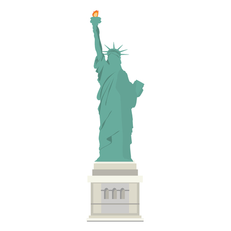 Raster illustration  statue of Liberty in New York City isolated on white background. NYC landmark. American symbol.
