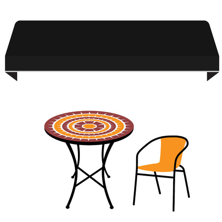 sunshade: Black shop window awning vintage outdoor table and chair. Round table and chair raster icon. Restaurant furniture Stock Photo