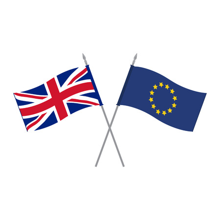 Raster illustration EU and UK raster table flags template. Waving European Union and United Kingdom of Great Britain and Northern Ireland flags on a metallic pole, isolated on a white background. Flag stand. Alliance and friendship