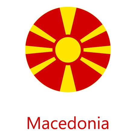 Raster illustration Macedonia flag raster icon. Round national flag of Macedonia. Macedonia flag button Stock Photo