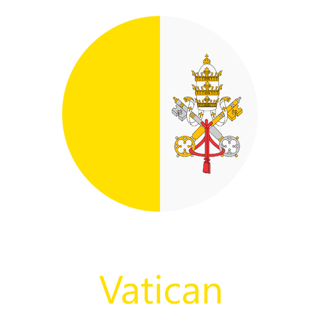 Raster illustration flag of Vatican icon. Round national flag of Vatican. Vatican flag button