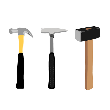 mason: Set of iron hammers with black handle and sledge hammer isolated on white background.  Working tool. Stock Photo