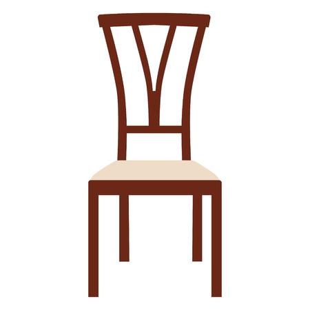 Raster illustration vintage wooden white chair. Elegant realistic chair Stock Photo