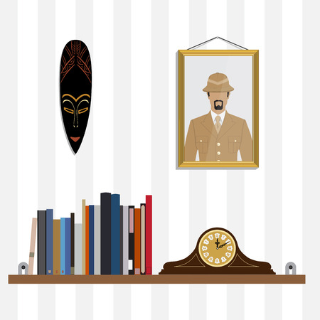Raster illustration bookshelf with bibliography, encyclopedia, handbooks and retro clock. Photo of traveler and African mask on the wall.