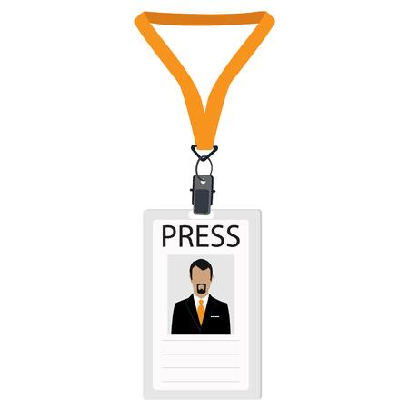 Raster illustration flat design name tag badge template. White plastic lanyard badge with man photo for press Stock Photo