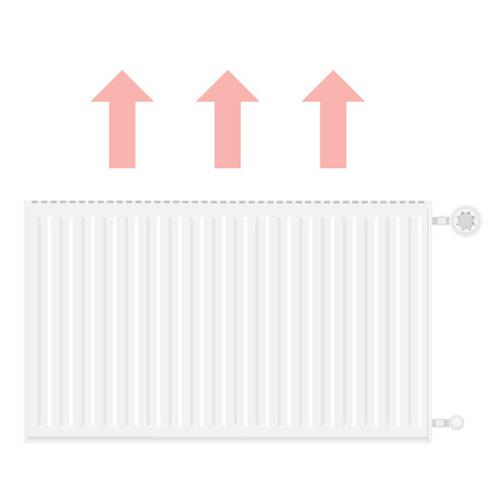cold room: Raster illustration realistic white heating radiator. Central Heating Radiators icons Stock Photo