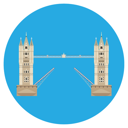 drawbridge: Raster illustration London tower bridge icon. United Kingdom landmark