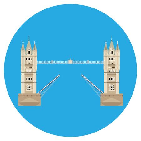 Raster illustration London tower bridge icon. United Kingdom landmark